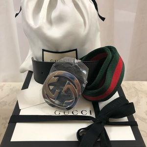 🆕 Gucci Iconic Ribbons Canvas Leather Belt, NIB